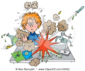 33052-Clipart-Illustration-Of-A-Shocked-School-Girl-Conducting-A-Chemistry-Experiment-While-Her-Chemicals-Explode